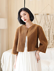 cheap -3/4 Length Sleeve Faux Fur Wedding / Office / Career Women's Wrap With Solid Coats / Jackets