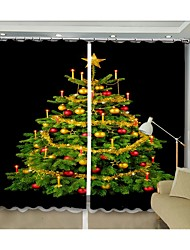 cheap -New Christmas Curtain Christmas Tree Digital Print 3D Curtain Before Black Background Holiday High Quality Blackout Curtain