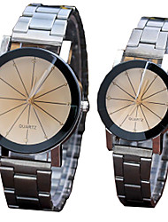 cheap -Couple's Steel Band Watches Quartz Stainless Steel Silver No Chronograph Cute Creative Analog New Arrival Fashion - Black Black / White One Year Battery Life