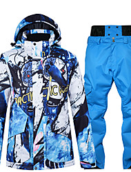cheap -Men's Ski Jacket with Pants Skiing Snowboarding Winter Sports Waterproof Windproof Warm 100% Polyester Clothing Suit Ski Wear