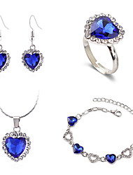 cheap -Women's Blue Drop Earrings Pendant Necklace Necklace Layered Heart Simple Classic Fashion Cute Elegant Earrings Jewelry Royal Blue For Gift Daily Holiday Promise Festival 5pcs / Bracelet / Ring
