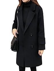 abordables -Femme Quotidien / Travail Basique Automne hiver Longue Trench, Couleur Pleine Col rabattu Manches Longues Modal / Spandex / Tweed énorme Noir