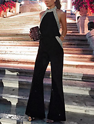 cheap -Women's Basic Black Jumpsuit Onesie, Solid Colored XS S M