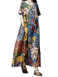 cheap -Women's Street Going out Vintage Elegant A Line Swing Dress - Floral Tropical Leaf, Print Blue Brown M L XL XXL