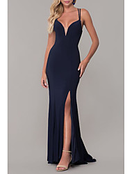 cheap -Sheath / Column Plunging Neck Sweep / Brush Train Spandex / Lace / Satin Elegant Formal Evening Dress with Split Front 2020