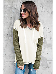 cheap -Women's Basic Hoodie - Color Block Green S
