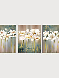 cheap -Oil Painting Hand Painted Floral / Botanical Modern Stretched Canvas / Three Panels With Stretched Frame