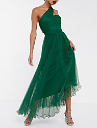 cheap -A-Line Maxi Green Wedding Guest Prom Dress One Shoulder Sleeveless Ankle Length Chiffon with Pleats Ruched 2020