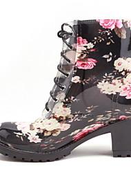 رخيصةأون -نسائي كتب كعب متوسط أمام الحذاء على شكل دائري PU البوط القصير / بوط الكاحل الشتاء أسود / أزرق