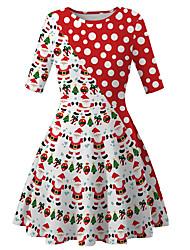 cheap -Kids Girls' Basic Cute Santa Claus Color Block Cartoon Christmas Print Half Sleeve Knee-length Dress Red