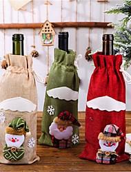 cheap -Christmas Party Wine Bottle Decoration Set Linen Print Santa Claus Table Wine Bottle Set Home Christmas Decorations