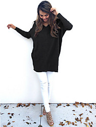 cheap -Women's Solid Colored Pullover Long Sleeve Sweater Cardigans Deep V White Black Blue