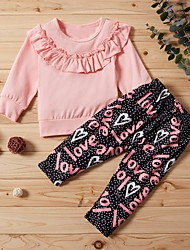 cheap -Baby Girls' Street chic Print Long Sleeve Regular Clothing Set Blushing Pink