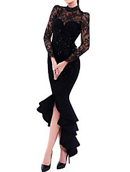 cheap -Sheath / Column High Neck Asymmetrical Satin Elegant Formal Evening Dress 2020 with Crystals / Ruffles / Lace Insert