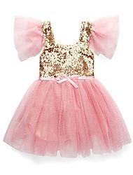 cheap -Kids Toddler Girls' Active Sweet Floral Mesh Sleeveless Short Sleeve Midi Dress White