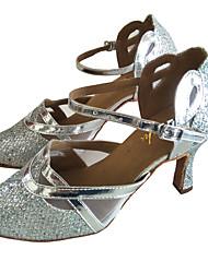 cheap -Women's Modern Shoes / Ballroom Shoes PU Buckle Heel Sparkling Glitter Flared Heel Customizable Dance Shoes Silver