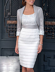 cheap -Sheath / Column Scoop Neck Knee Length Polyester 3/4 Length Sleeve Wrap Included Mother of the Bride Dress with Ruching 2020