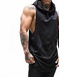 cheap -Men's Letter Basic Slim Tank Top Active Daily Sports Gym Hooded White / Black / Summer / Sleeveless
