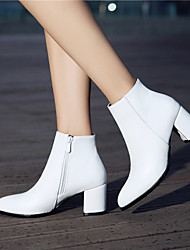 cheap -Women's Boots Block Heel Boots Chunky Heel Pointed Toe Booties Ankle Boots Minimalism Party & Evening PU Solid Colored White Black Brown / Booties / Ankle Boots / Booties / Ankle Boots
