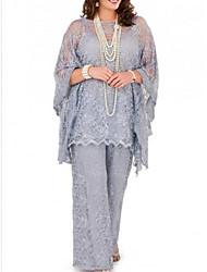cheap -Pantsuit / Jumpsuit Jewel Neck Floor Length Chiffon Long Sleeve Plus Size Mother of the Bride Dress with Lace 2020