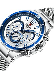 cheap -REWARD Men's Steel Band Watches Quartz Stylish Stainless Steel Black / Blue / Silver 30 m Water Resistant / Waterproof Calendar / date / day Chronograph Analog Casual Fashion - Black Golden Black