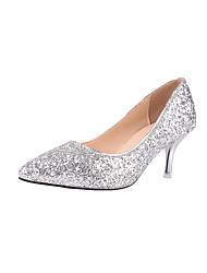 cheap -Women's Wedding Shoes Stiletto Heel Pointed Toe Sequin / Sparkling Glitter Faux Leather Sweet / Minimalism Spring &  Fall Gold / Silver