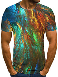 cheap -Men's Plus Size Graphic Pleated Print T-shirt Street chic Exaggerated Daily Going out Round Neck Rainbow / Short Sleeve