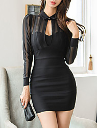 cheap -Women's Sophisticated Bodycon Dress - Striped Mesh Crew Neck Black S M L XL