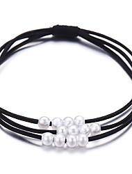 cheap -Women's Hair Ties For School Work Festival Pearl Cord Black