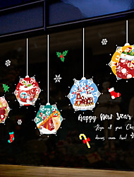 cheap -Window Film & Stickers Decoration Happy New Year / Christmas Geometric / Holiday / Character PVC(PolyVinyl Chloride) Window Sticker / Door Sticker / Funny