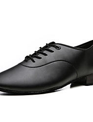 cheap -Men's Modern Shoes / Ballroom Shoes PU Lace-up Heel Flat Heel Dance Shoes Black / Performance / Practice