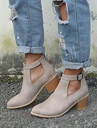 cheap -Women's Boots Chunky Heel Pointed Toe Buckle Suede Vintage / Casual Spring &  Fall / Spring & Summer Black / Blue / Gray / Party & Evening