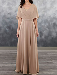 cheap -A-Line V Neck Floor Length Chiffon Short Sleeve Plus Size / Elegant Mother of the Bride Dress with Beading 2020