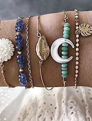 cheap -6pcs Women's Blue Bracelet Bangles Bead Bracelet Earrings / Bracelet Layered Leaf Flower Shape Shell Classic Vintage Trendy Ethnic Fashion Alloy Bracelet Jewelry Gold For Gift Daily Holiday Club