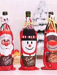 cheap -Table Decor Dinner Party Red Wine Christmas Santa Tree Bottle Cover Bags Sets Bottle Deco For New Year Xmas Dinner Party
