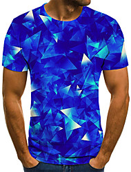 cheap -Men's Daily Sports Basic / Exaggerated T-shirt - Color Block / 3D / Tie Dye Black & White, Print Royal Blue
