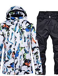 cheap -Men's Ski Jacket with Pants Ski / Snowboard Winter Sports Thermal / Warm Comfortable Protective Polyester Clothing Suit Ski Wear / 2 Piece