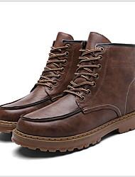 cheap -Men's Combat Boots PU Winter Boots Booties / Ankle Boots Black / Light Brown / Dark Brown