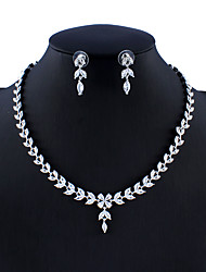 cheap -Women's Silver Bridal Jewelry Sets Link / Chain Drop Flower Shape Stylish Luxury Dangling Trendy Imitation Diamond Earrings Jewelry Silver For Christmas Wedding Party Engagement Gift 1 set