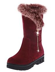 cheap -Women's Boots Snow Boots Flat Heel Round Toe Suede Mid-Calf Boots Winter Black / Wine