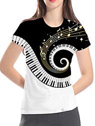 cheap -Women's Daily Club Basic / Rock T-shirt - Color Block / 3D / Graphic Black & White, Print White