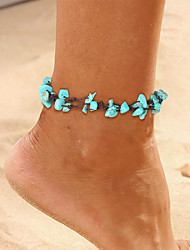 cheap -Ankle Bracelet Simple Classic Vintage Women's Body Jewelry For Daily Holiday Braided Cord Stone Lucky Blue 1pc