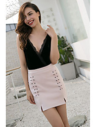cheap -Women's Party / Evening / Daily Sexy / Street chic Bodycon Skirts - Solid Colored Cut Out Black Wine Dusty Rose S M L / Mini / Suede
