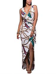 cheap -Women's Going out Casual / Daily Street chic Elegant Bodycon Sheath Dress - Geometric Print White S M L XL