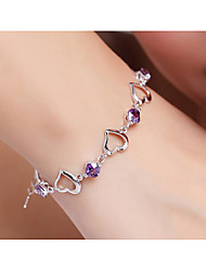 cheap -Women's Purple AAA Cubic Zirconia Chain Bracelet Geometrical Heart Fashion Rhinestone Bracelet Jewelry Silver For Gift Daily