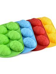 Недорогие -6 полостей формы пасхальное яйцо силиконовые формы DIY шоколад выпечки торт плесень случайный цвет