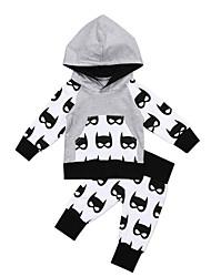 preiswerte -Baby Jungen Freizeit / Aktiv Druck Druck Langarm Lang Kleidungs Set Grau