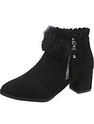 cheap -Women's Boots Chunky Heel Pointed Toe Faux Fur / PU Booties / Ankle Boots Minimalism Fall Black