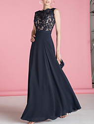 cheap -A-Line Scalloped Neckline Floor Length Chiffon Open Back Formal Evening Dress with Lace Insert 2020
