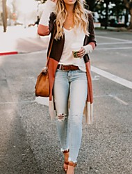 cheap -Women's Color Block Long Sleeve Cardigan Sweater Jumper, V Neck Orange / Blue / Gray S / M / L